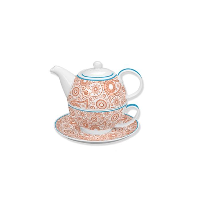 Tea for one fulldecor in porcellana bianca e arancione