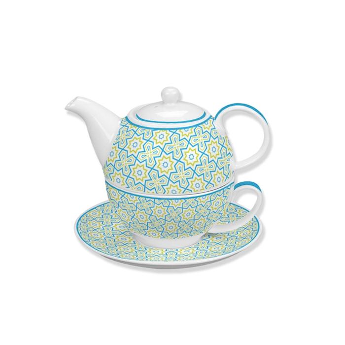 Tea For one Azulejos in porcellana bianca e verde