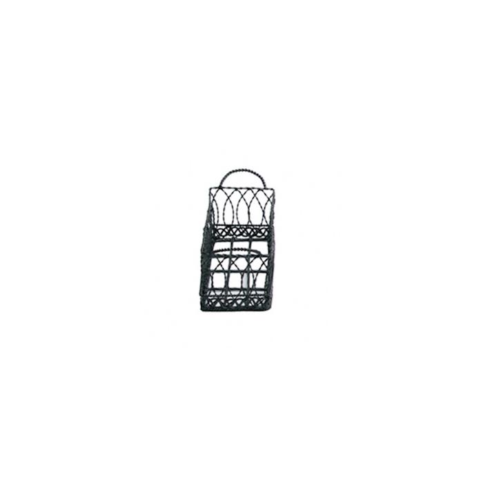 Porta pane rettangolare in acciaio inox nero cm 21x8x7