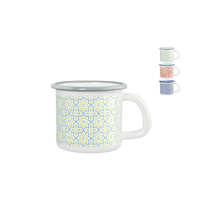 Bicchiere mug smaltato in decori assortiti cl 38