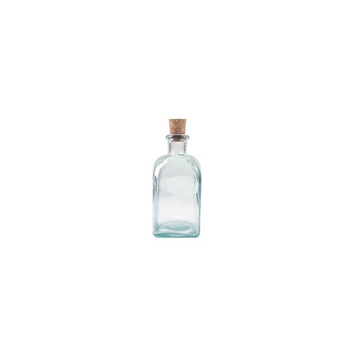 Bottiglia quadra in vetro con tappo in sughero cl 25