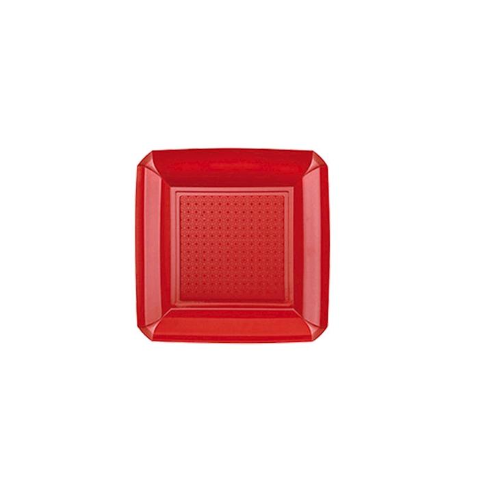 Piatto piano Dandy in plastica rosso cm 18x18