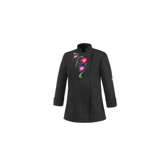 Giacca cuoca Flowers in poliestere e cotone nera con fiori taglia M