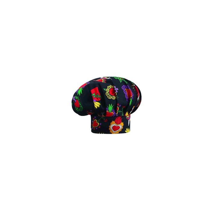 Cappello cuoco Hearts nero con cuori 100% cotone