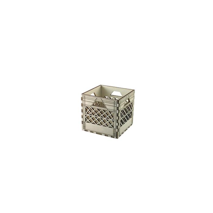 Mini cassetta con lavorazione a rete in legno naturale cm 10,5x10,5x10