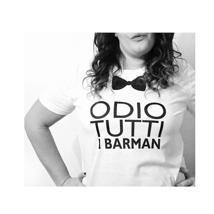 Maglietta Odio tutti i barman in cotone bianco tg L