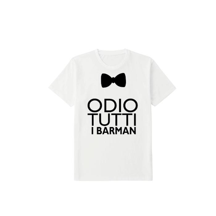 Maglietta Odio tutti i barman in cotone bianco tg XL