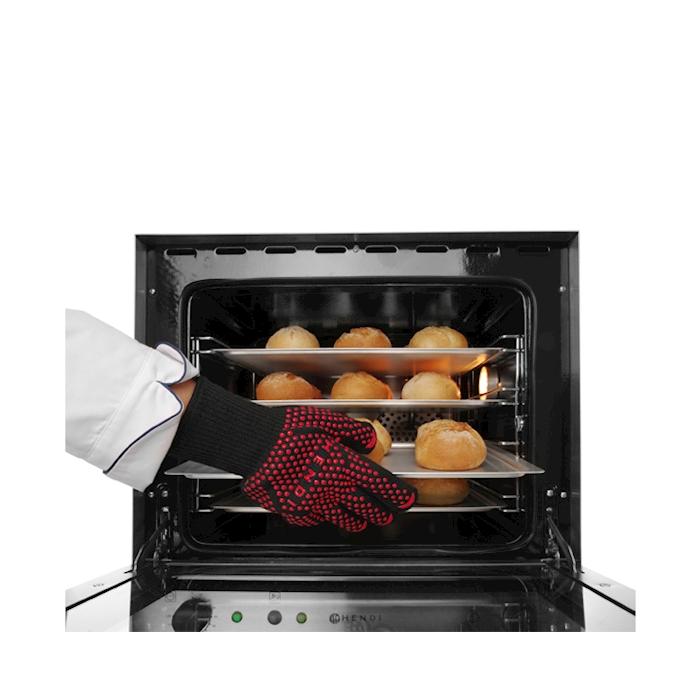 Guanto da forno in fibra di vetro nero e rosso