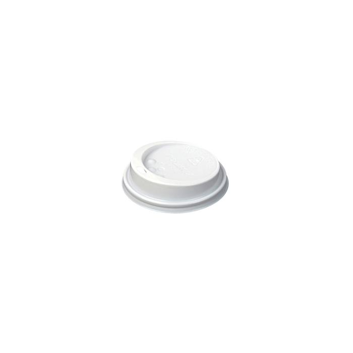 Coperchio monouso con foro per bicchiere caffè in plastica bianca cm 6,5