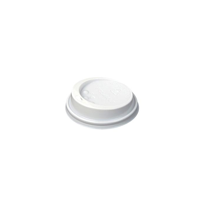Coperchio monouso con foro per bicchiere caffè in plastica bianca cm 7,5
