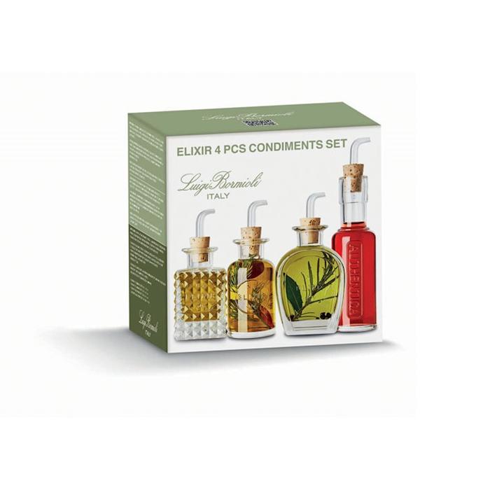 Set 4 bottiglie olio e aceto Luigi Bormioli in vetro
