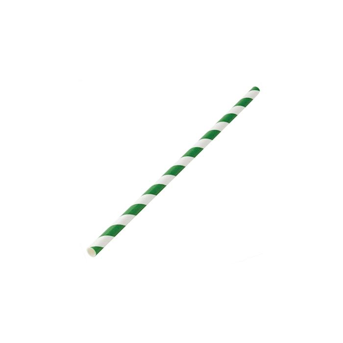 Cannucce biodegradabili con decoro a spirale in carta bianca e verde cm 20x0,6