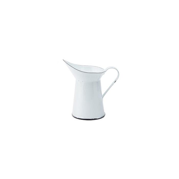 Mini caraffa in latta bianca con bordi neri cl 15