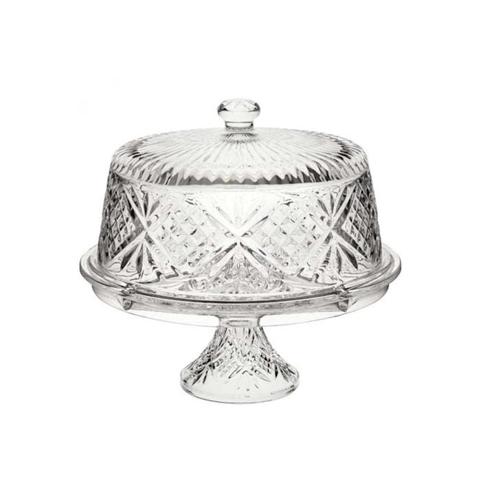 Alzata Vintage con cupola in vetro decorato cm 30