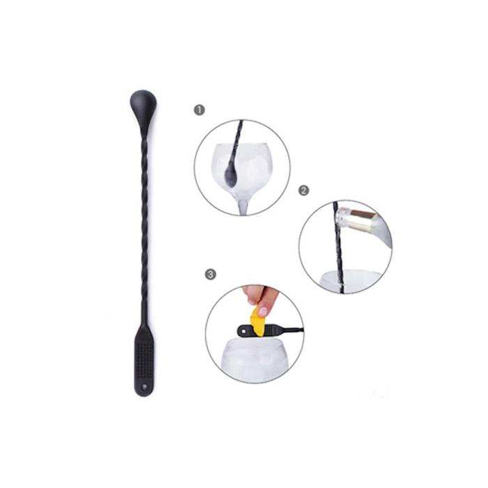 Bar spoon con gratta limone in plastica nero cm 31