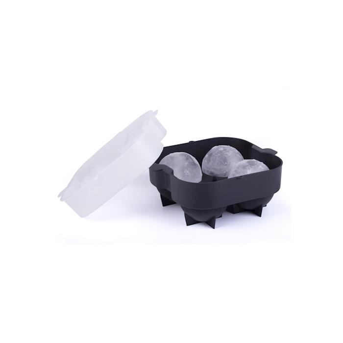Stampo ghiaccio XXL 4 sfere in plastica bianca e nera cm 17x17