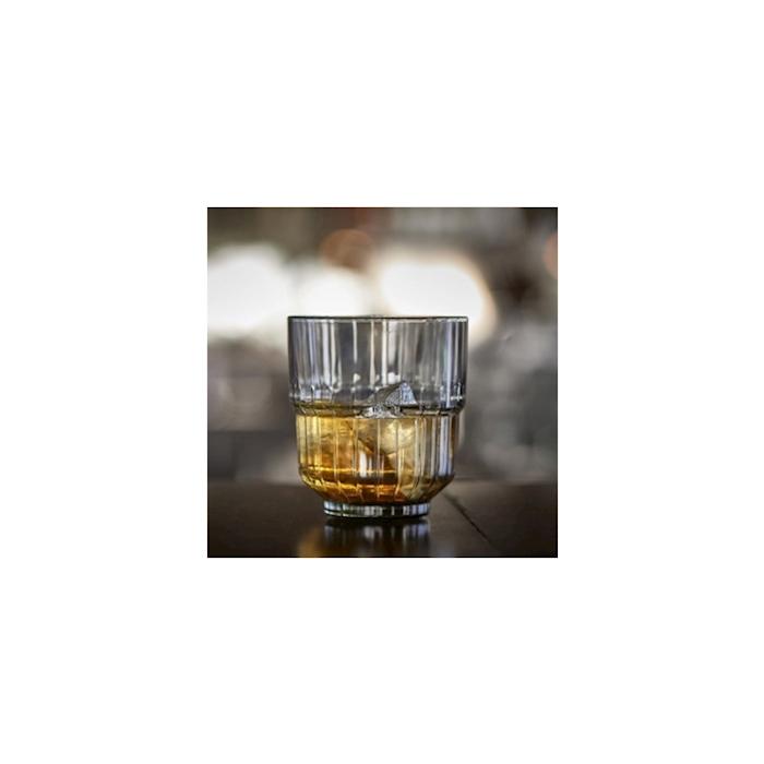 Bicchiere Linq rocks impilabile in vetro grigio fumé cl 26,6