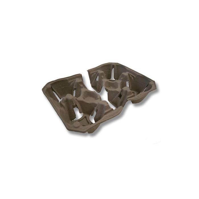 Contenitore monouso asporto 2 bicchieri in carta riciclata grigia cm 20x12