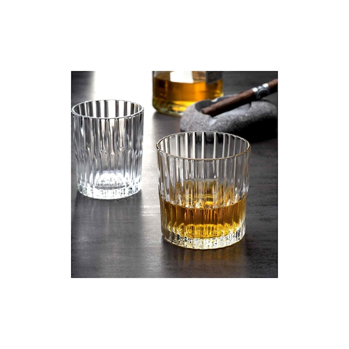Bicchiere Manhattan in vetro decorato trasparente cl 31