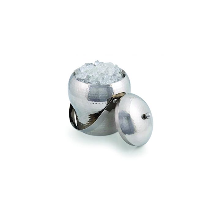 Secchiello ghiaccio con pinza in acciaio inox martellato cm 15,5x14