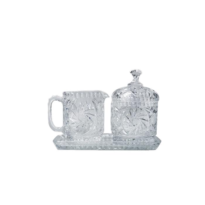 Set vintage Glaske con vassoio lattiera e zuccheriera in vetro decorato