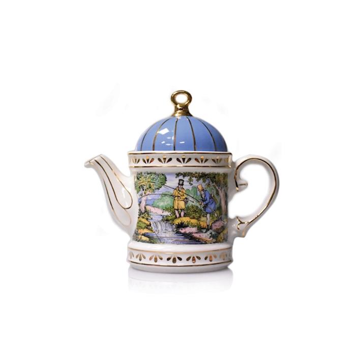 Teiera Regency Fishing Sadler in porcellana decorata cl 58