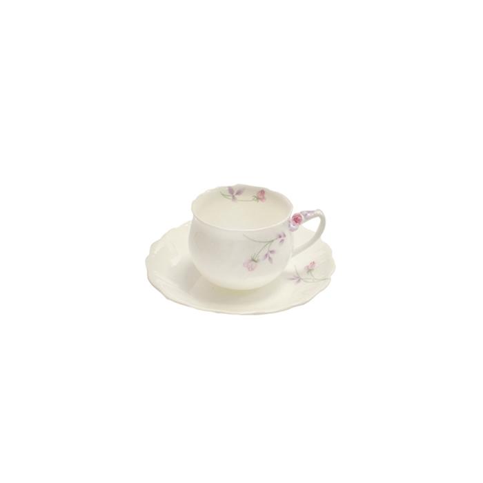 Set 6 tazze Moonlight con piatto e decoro a fiori in porcellana cl 22