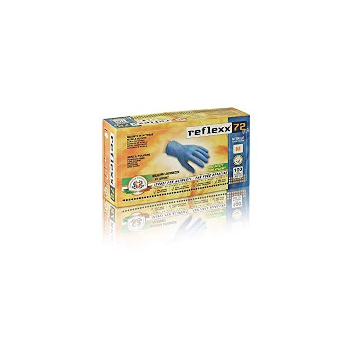 Guanti Reflexx senza polvere in nitrile azzurro taglia M