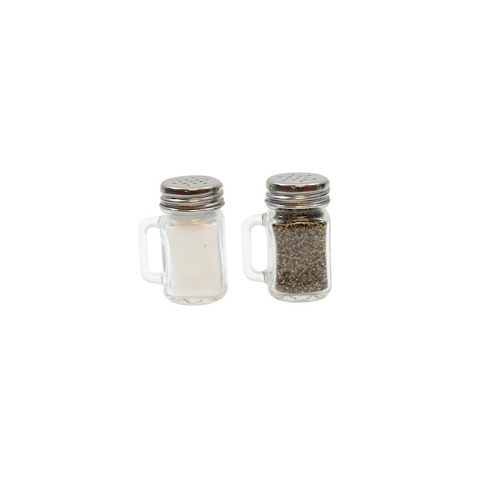 Spargisale e pepe con manico in vetro trasparente cl 4,5
