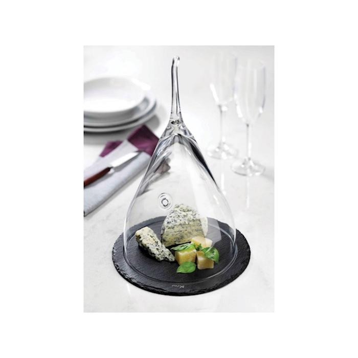Cupola Fromage in vetro con foro e piatto in ardesia