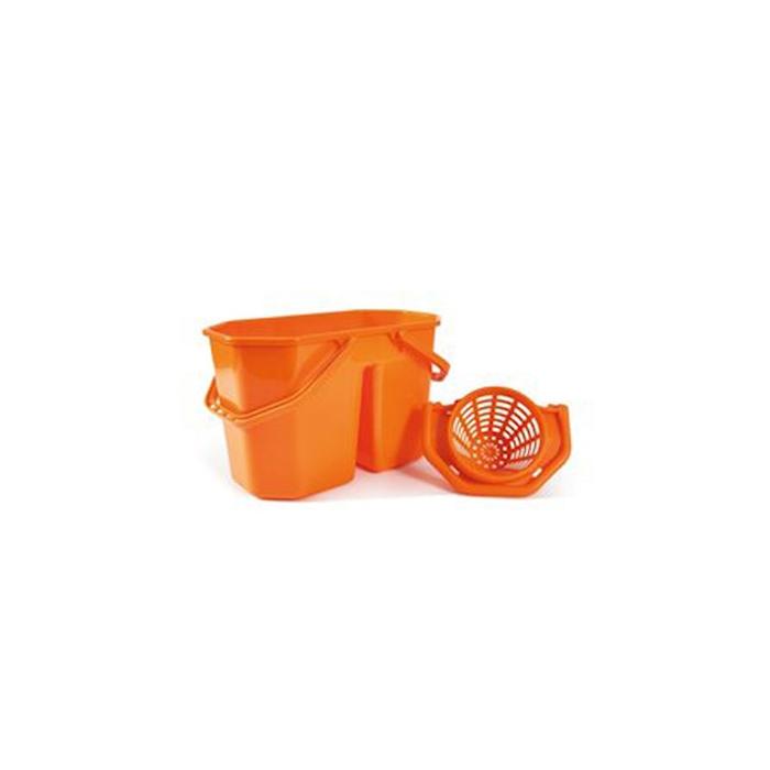 Secchio con strizzatore 2 vasche Robusto in polipropilene arancione lt 15