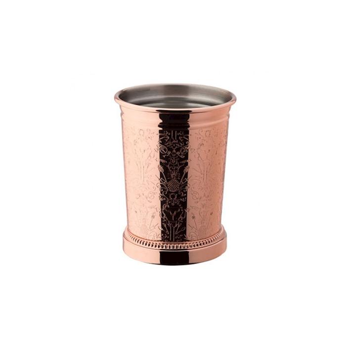 Bicchiere Mint Julep con decori in acciaio inox e rame cl 39