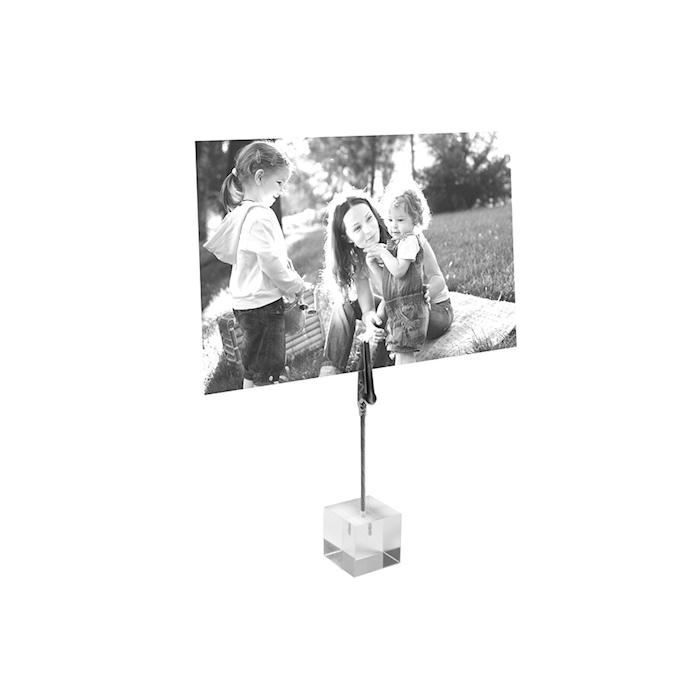 Supporto a cubo con pinza trasparente cm 2,5x2,5x10