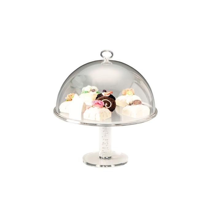 Alzata con cupola tonda in policarbonato trasparente cm 24x23