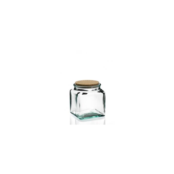 Barattolo quadro Puchades in vetro riciclato con tappo in sughero gr 350