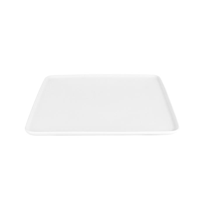 Piatto piano quadro Dinner in porcellana bianca cm 30