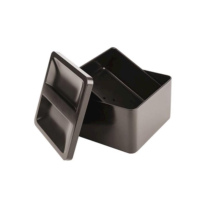 Porta ghiaccio quadro con coperchio in plastica nero lt 5,4