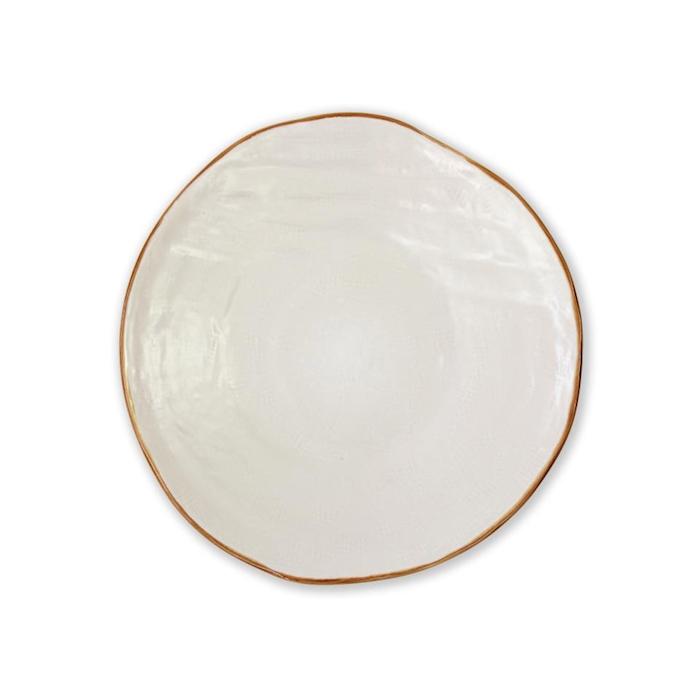 Piatto piano Mediterraneo in ceramica bianco cm 27,5