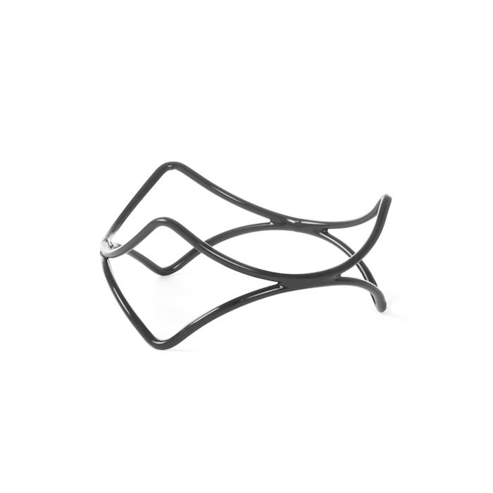 Alzata buffet rotonda astratta Hendi in acciaio e gomma antiscivolo nera cm 20x10
