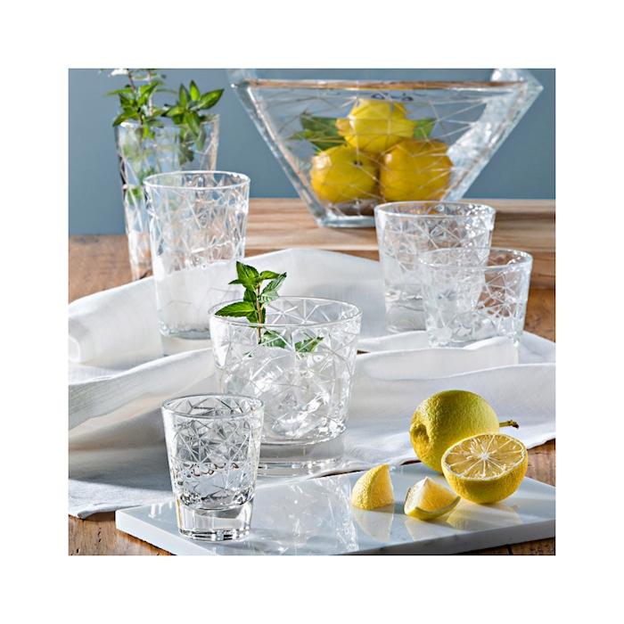 Bicchiere Dolomiti bibita Vidivi in vetro lavorato cl 28