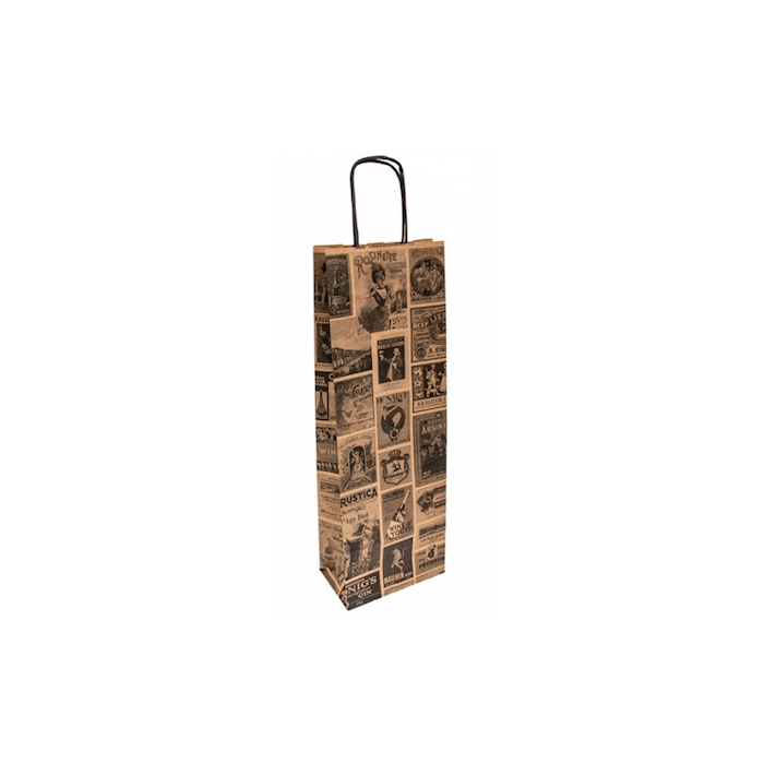 Borsa Bacchus per bottiglie in carta decorata cm 14x8x40