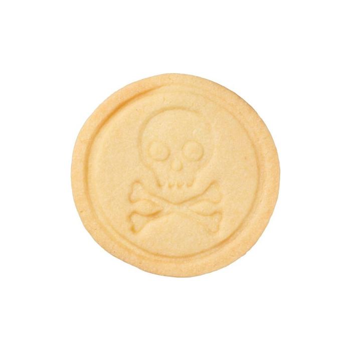Timbro per biscotti con teschio nero in silicone cm 7
