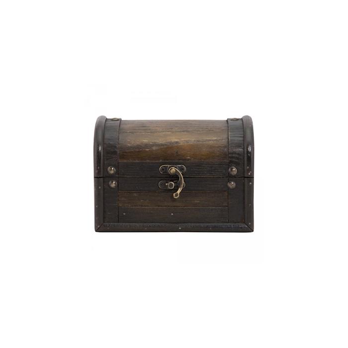 Porto conto Baule in legno marrone cm 15x11,5x11