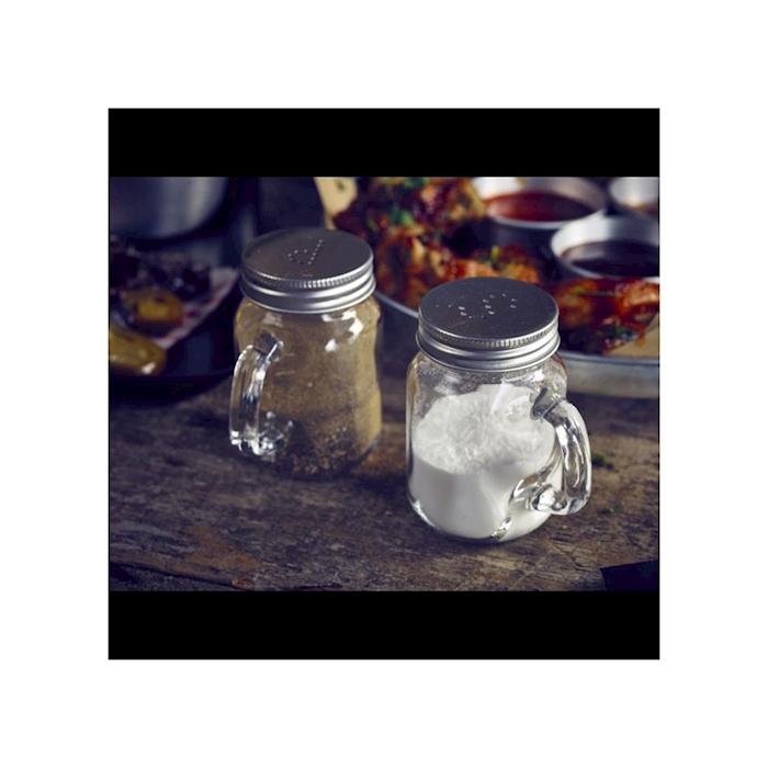 Set sale e pepe in vetro con tappo in alluminio