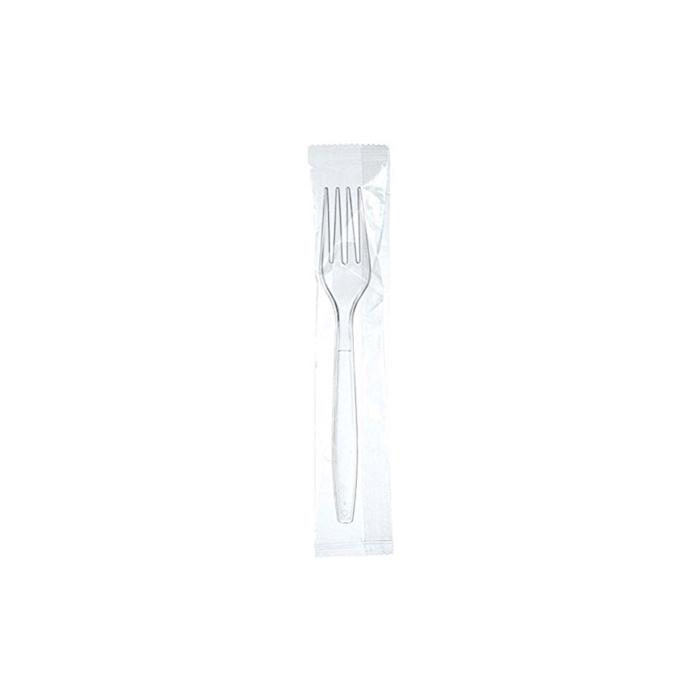 Forchetta usa e getta imbustata singolarmente in plastica trasparente cm 18
