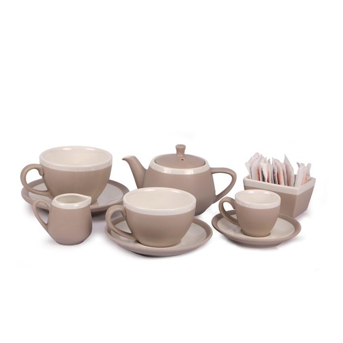 Piatto per tazza cappuccino CoffeeCo in porcellana tortora cm 14,5