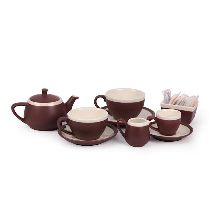 Piatto per tazza colazione CoffeeCo in porcellana marrone cm 16