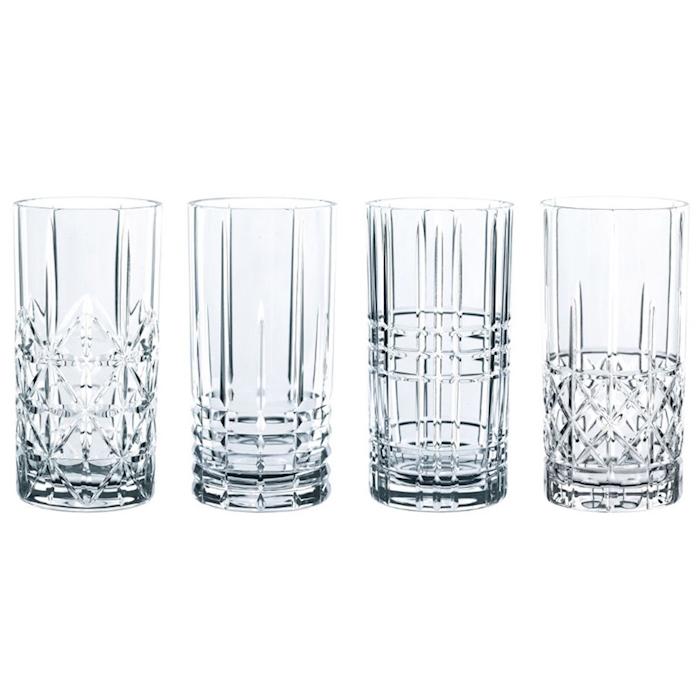 Set bicchieri Highland in vetro decori assortiti cl 44,5