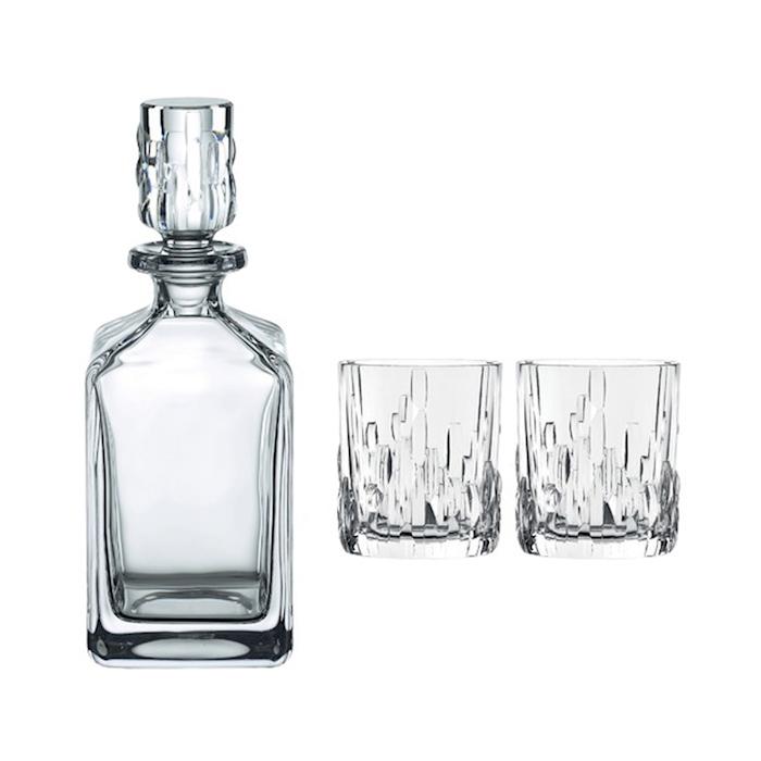 Set bottiglia e 2 bicchieri whisky Shu Fa in vetro
