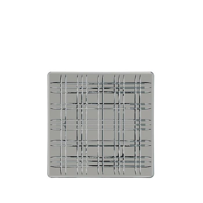 Vassoio quadrato Square Smoke in vetro grigio cm 28x28